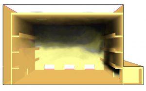 Wizualizacja rozprzestrzeniania się dymu w budynku atrium, przy pożarze rozwijającym się w przestrzeni przyległej    dr hab. inż. Małgorzata Król